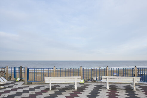 Netherlands, Zandvoort, view terrace with two benches - MMIF00053