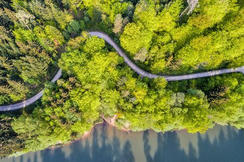 Germany, Baden-Wuerttemberg, Schurwald, Aerial view of Herrenbach reservoir - STSF01546