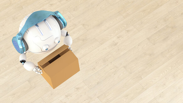 Robotic drone carrying cardboard box, 3d rendering - AHUF00491