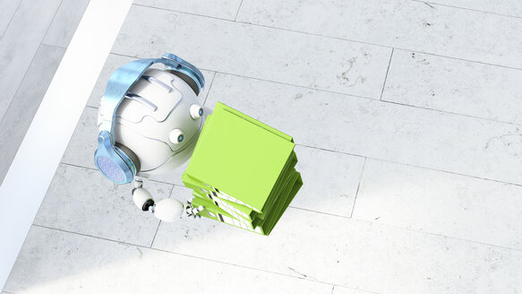 Robotic drone carrying file stack, 3d rendering - AHUF00494