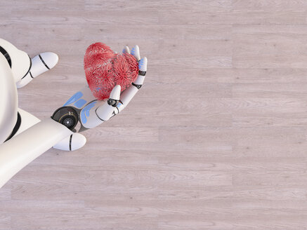Robot holding heart in his hand, 3d rendering - AHUF00497
