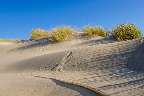 Germany, Schleswig-Holstein, Sylt, dune, sand with footmarks - EGBF00245