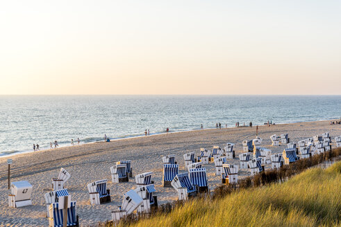 Germany, Schleswig-Holstein, Sylt, beach and empty hooded beach chairs at sunset - EGBF00248