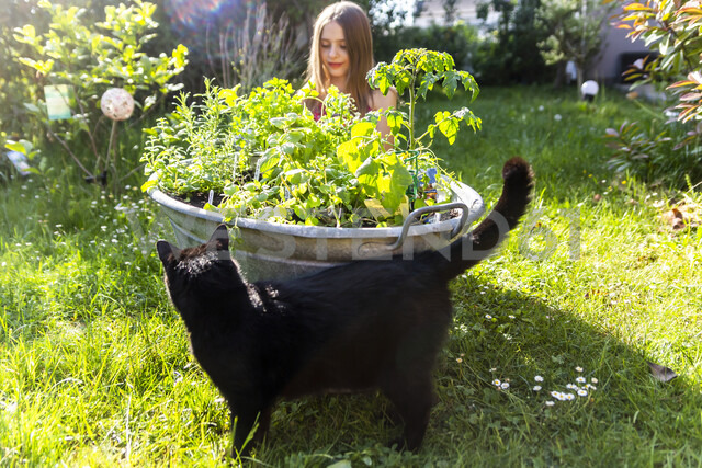 Girl planting herbs in zinc tub in the garden - SARF03740