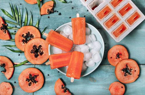 Homemade papaya ice lollies - RTBF01275