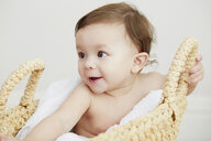 Portrait of baby girl in basket - CUF05102