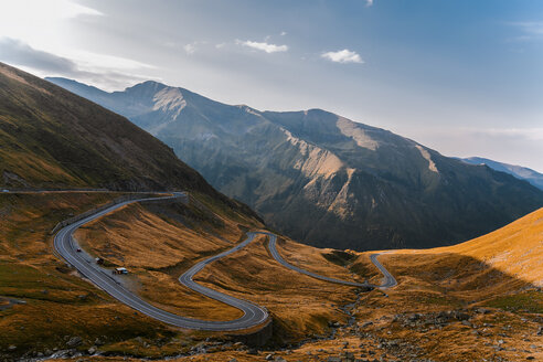 Mountain valley highway with hairpin bends, Draja, Vaslui, Romania - ISF01408