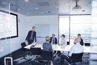 Businessman making flat screen presentation to team in boardroom - CUF06620