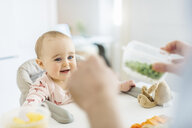 Baby daughter watching father prepare food - CUF06821