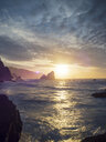 Spain, Biscay, Basque Country, Euskadi, San Juan de Gaztelugatxe, bay at sunset - LAF02033