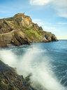 Spain, Biscay, Basque Country, Euskadi, San Juan de Gaztelugatxe, breaking wave - LAF02036