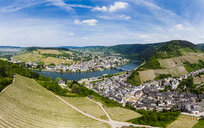 Germany, Rhineland-Palatinate, aerial view of Traben-Trarbach with Moselle river, vine yards - AMF05726