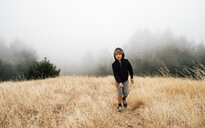 Boy in foggy field landscape, Fairfax, California, USA, North America - CUF07262