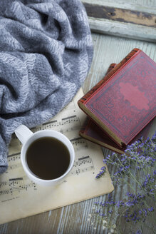 Cup of black coffee, book and music sheet - JUNF01049