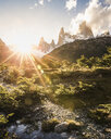 Sunlit  landscape and Fitz Roy mountain range in Los Glaciares National Park, Patagonia, Argentina - CUF08040