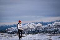 Germany, Bavaria, Berchtesgaden Alps, Schneibstein, female hiker - HAMF00287