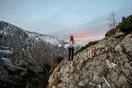 Germany, Bavaria, Berchtesgaden Alps, Schneibstein, female hiker - HAMF00290