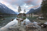 Germany, Bavaria, Berchtesgaden Alps, Lake Hintersee in the morning - MBOF00041