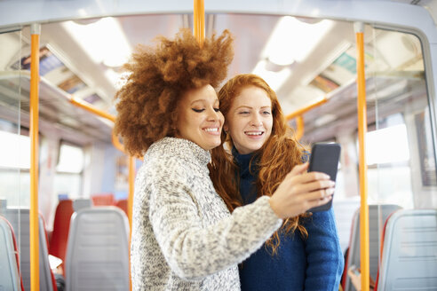 Friends taking selfie with mobile phone on train, London - CUF09308