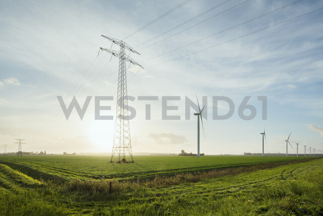 Wind turbines early in the morning, Rilland, Zeeland, Netherlands, Europe - CUF09548