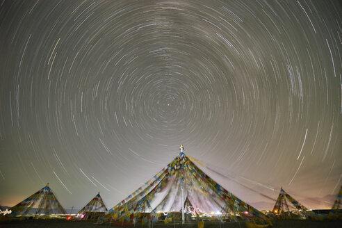 Stars motion, Chaka Salt Lake, Haixi, Qinghai Province, China - CUF09569