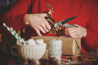 Woman wrapping christmas gift - CUF09635