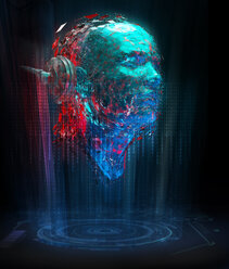 Artificial intelligence binary code forming face with headphones - CAIF20563