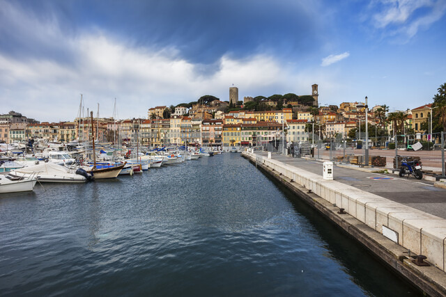 France, Cannes, View to Old Town Le Suquet from Le Vieux Port - ABOF00355