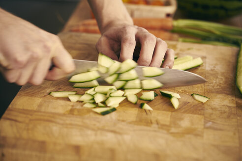 Cropped view of chef chopping vegetables - CUF10761