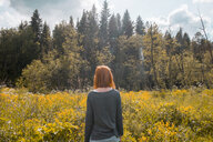Woman standing in field, looking at view, rear view, Ural, Chelyabinsk, Russia, Europe - CUF11496