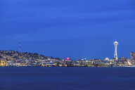 USA, Washington State, Seattle, Skyline at blue hour - MMAF00361