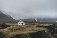 Iceland, North of Iceland, landscape with single white house - AFVF00497