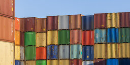 Germany, stacked containers - WDF04665