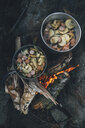 Norway, Lofoten, Moskenesoy, Food cooking on camp fire - GUSF00786
