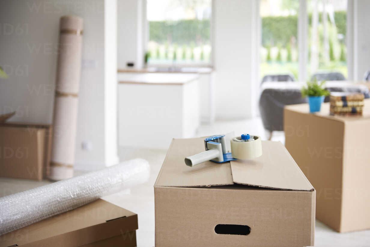 Tape gun on cardboard box - ABIF00443 - gpointstudio/Westend61
