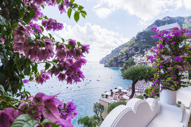 Hotel rooftop terrace view of coast and waterfront, Positano, Campania, Italy - ISF03300