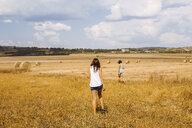 Rear view of women walking in wheat field - ISF03696