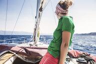 Woman on yacht, Koralat, Zagrebacka, Croatia - ISF03717