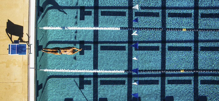 Overhead view of swimmer in pool - ISF04254