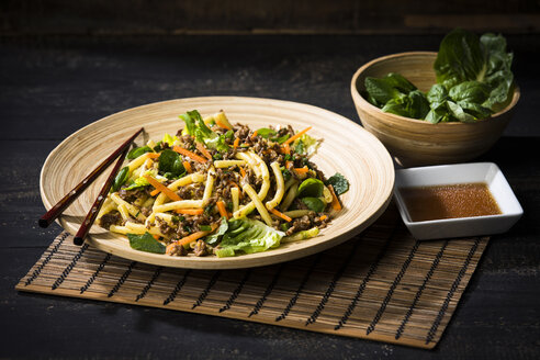 Asian mincemeat salad with macaroni, ginger, chili, garlic, carrot, spring onion, soy lemon sauce - MAEF12602