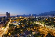 Albania, Tirana, Rinia Park and City Center in the evening - SIEF07771