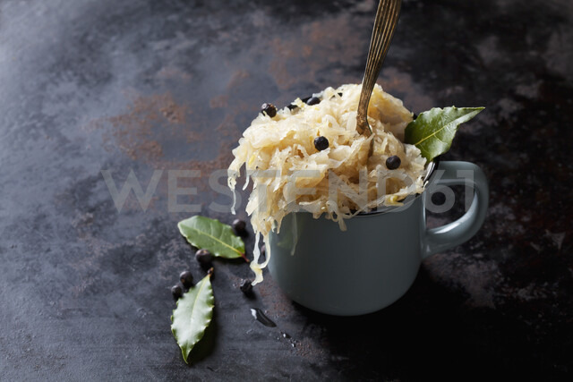 Cup of Sauerkraut with uniper berris and bay leaves - CSF29198
