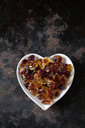 Heart-shaped bowl of brown rock candy - CSF29207