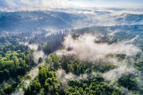 Germany, Baden-Wuerttemberg, Swabian Alb, Aerial view of Schurwald, morning fog - STSF01563