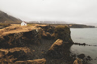 Iceland, North of Iceland, landscape with single white house - KKAF00995