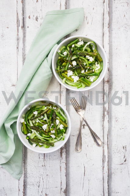 Green asparagus salad with helically coiled cucumber and feta cheese - LVF06990