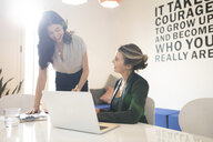Two young businesswomen meeting in creative office - ISF05153