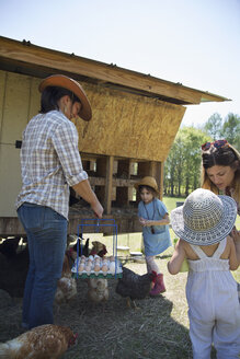Family working on farm, collecting eggs from chicken coop - ISF05453
