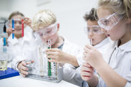 Pupils in science class experimenting with liquids in test tubes - WESTF24241