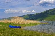 Albania, Prespa National Park, Lake Prespa, fishing boat at lakeshore - SIEF07778